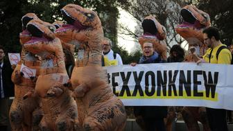 Environmental activists rally against the nomination of former Exxon Mobil CEO Rex Tillerson to be U.S. secretary of state, prior to Tillerson's confirmation hearing on Capitol Hill in Washington, U.S., January 11, 2017. REUTERS/Carlos Barria