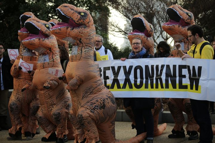 Environmental activists rally against the nomination of former Exxon Mobil CEO Rex Tillerson to be U.S. secretary of state, a