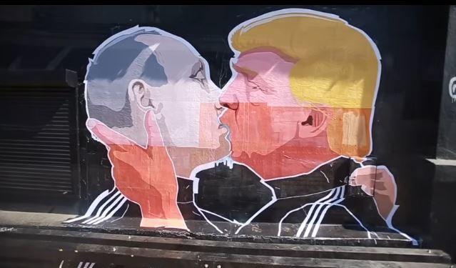 Screengrab from YouTube video Putino ir Trumpo piešinys posted by Alfa Vaizdas.