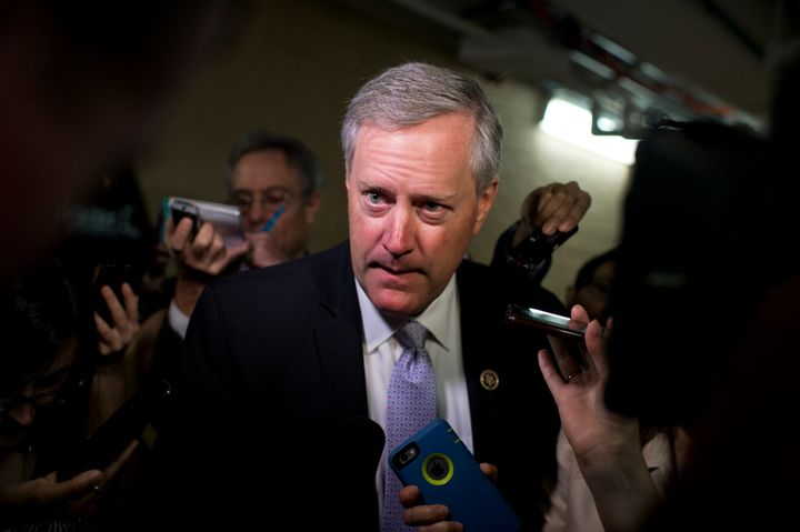 Rep. Mark Meadows (R-N.C.) talks with reporters after a meeting of the House Republican Conference in the Capitol, Oct. 21, 2