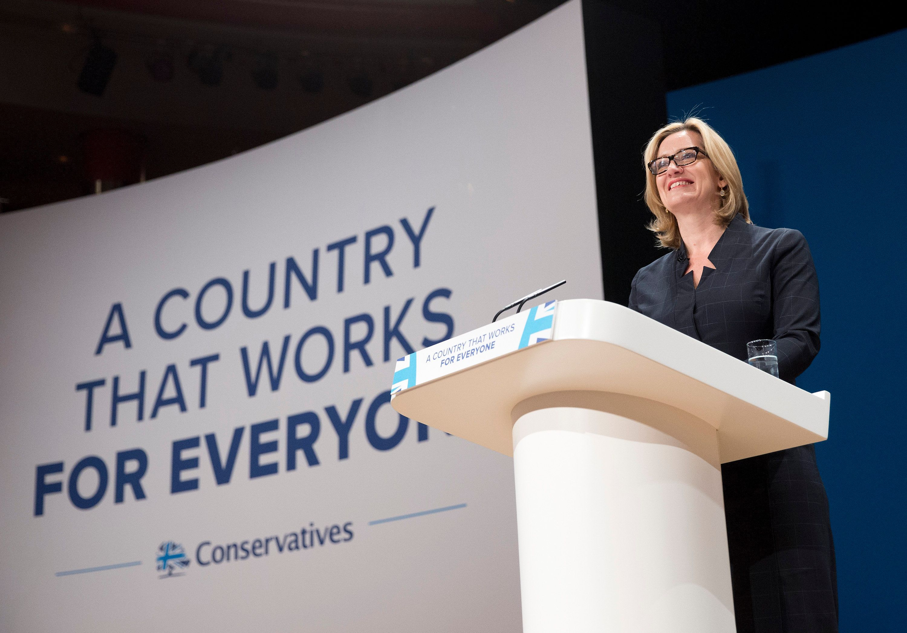 Amber Rudd's Conservative party conference speech in which she suggested companies compile lists of foreign...