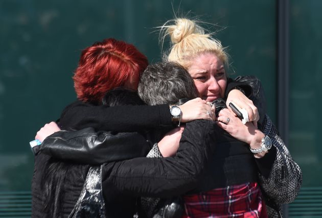 April 2016:Relatives hug outside the Hillsborough inquests, where the inquest jury concluded that...