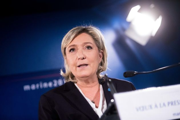 Marine Le Pen speaks to the press at her campaign presidential headquarters in Paris, Jan. 4,