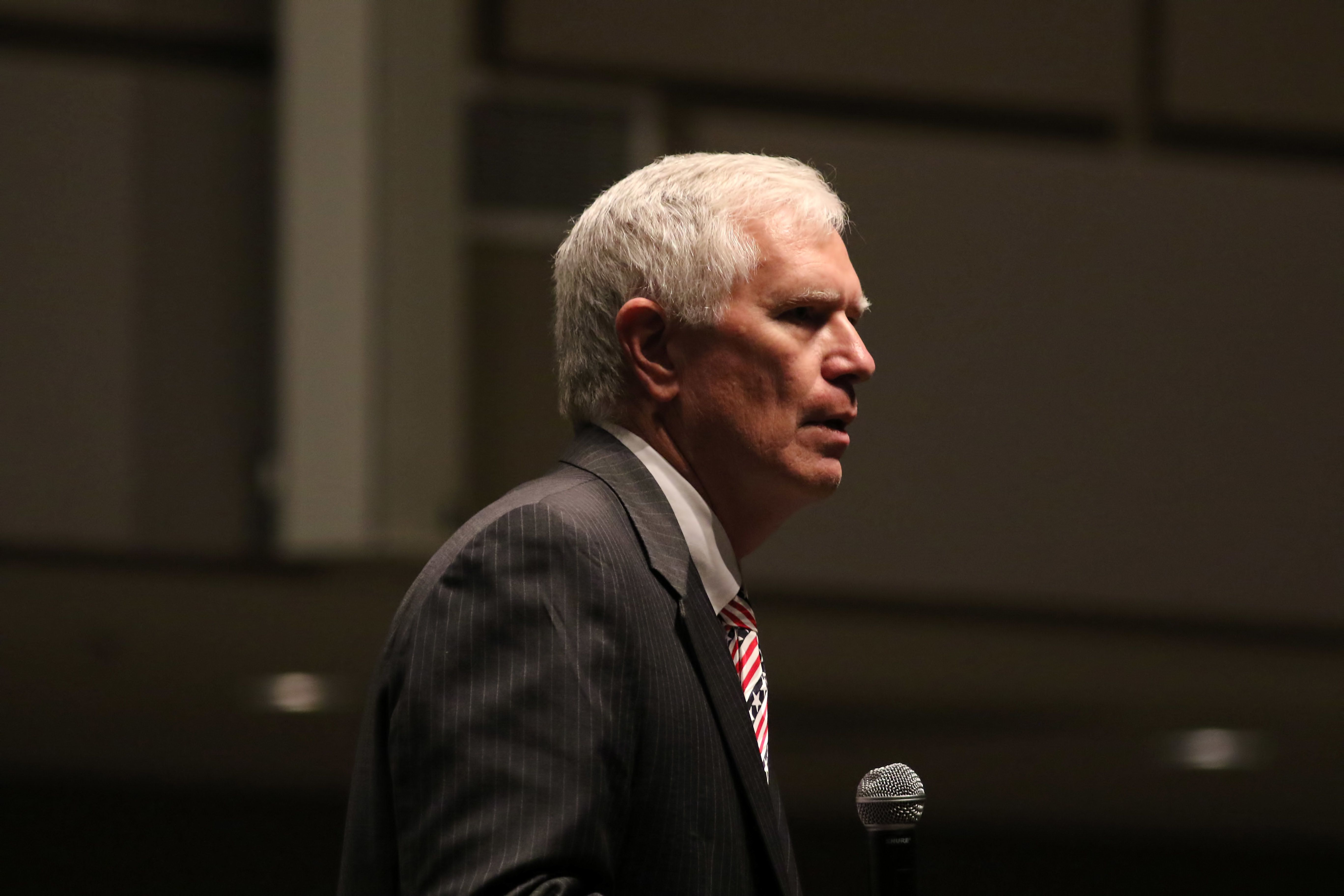20 December 2015: Mo Brooks, an Alabama U.S. Representative, speaks at the Take Off with Ted Rally in Trussville, Alabama. This stop on the Cruz Country Christmas Tour was held at the Trussville Civic Center. (Photo by Michael Wade/Icon Sportswire) (Photo by Michael Wade/Icon Sportswire/Corbis via Getty Images)
