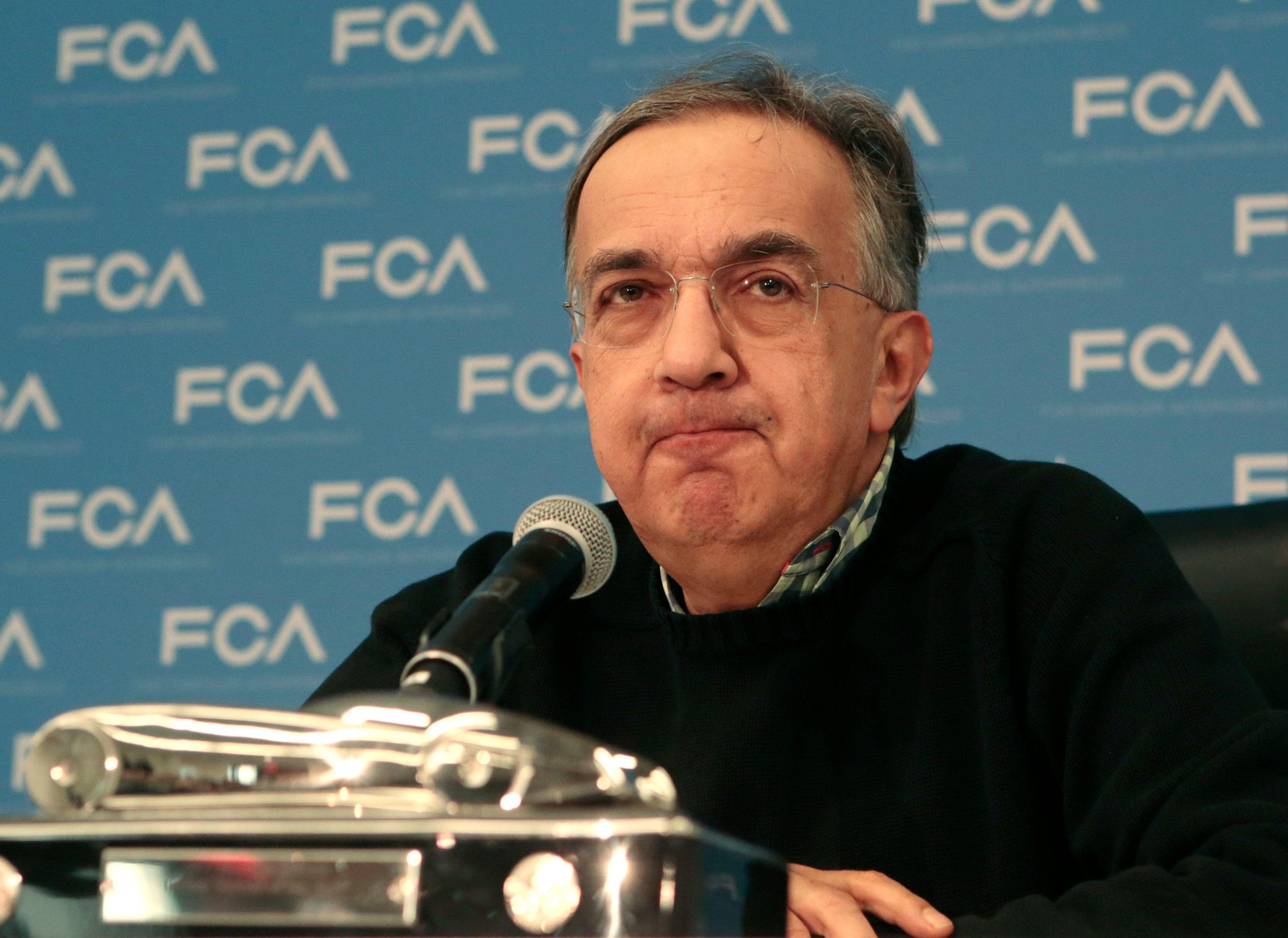 Fiat Chrysler Automobiles CEO Sergio Marchionne speaks during the North American International Auto Show in Detroit, Jan. 9,
