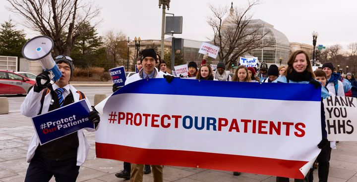 Health professional students rally in Washington, D.C. on January 9th for #ProtectOurPatients Day of Action