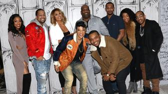 NEW YORK, NY - JANUARY 10:  (L-R back row) Eseni Elllington, Leland Robinson Jr., Samia Reece, Leland Robinson Sr., Antonio Jordan, LeA Robinson, Darnell Robinson, (front row L-R) Shanell 'Lady Luck' Jones and Rhondo Robinson, Jr. of the Robinsons attend Build Presents to discuss 'First Family of Hip Hop' at AOL HQ on January 10, 2017 in New York City.  (Photo by Laura Cavanaugh/FilmMagic)