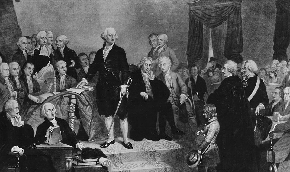 A painting depicting the inauguration of George Washington as the first president of the United States in 1789.