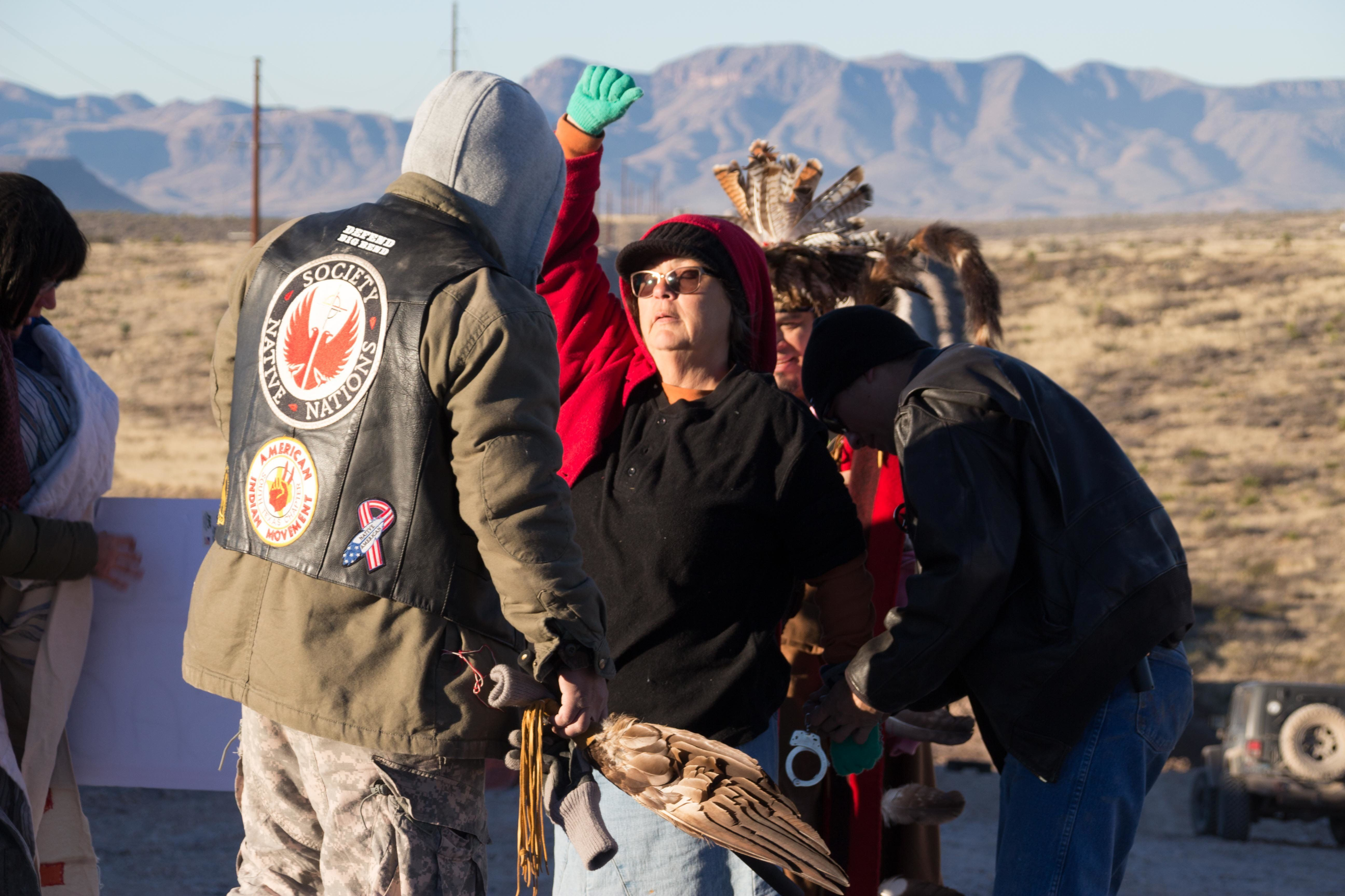Protesters trying to stop a natural gas pipeline in west Texas were arrested on Jan 7 near Marfa.