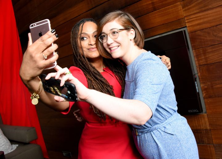 "Filmmakers Ava DuVernay (""13th"") and Anna Rose Holmer (""The Fits"") at the 2017 Film Independent Filmmaker Grant and Spirit Aw"