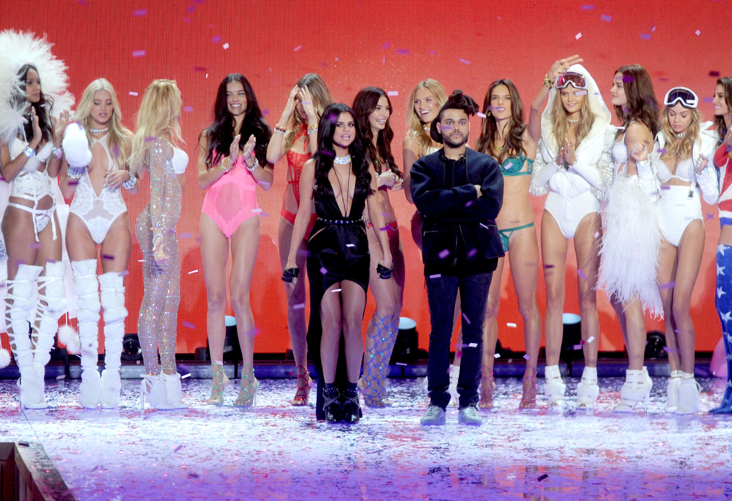 Selena Gomez and The Weeknd walking the runway during the Victoria's Secret Fashion Show at Lexington Armory in New York City, NY, USA, on November 10, 2015.