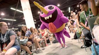 ANAHEIM, CA - JULY 25:  The Narwhale, from Nickelodeon's Game Shakers, plays a game with fans at VidCon on July 25, 2015 in Anaheim, California. New live-action comedy series set to premiere Saturday, Sept. 12 at 8:30pm (ET/PT)  (Photo by Jason Kempin/Getty Images for Nickelodeon)