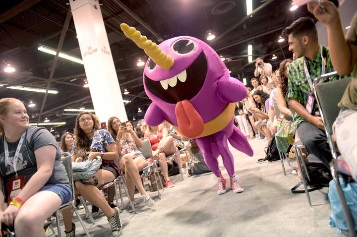 The Narwhale, from Nickelodeon''s Game Shakers, plays a game with fans at VidCon on July 25, 2015 in Anaheim, California.
