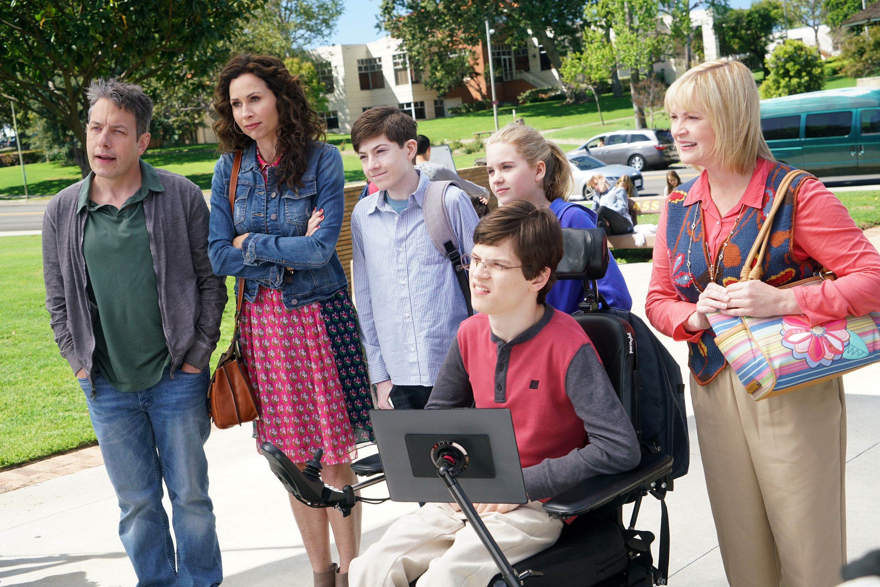 SPEECHLESS- 'Pilot' - Maya DiMeo moves her family to a new, upscale school district when she finds the perfect situation for her eldest son, JJ, who has cerebral palsy. While JJ and daughter Dylan are thrilled with the move, middle son Ray is frustrated by the family's tendencies to constantly move, since he feels his needs are second to JJ Soon, Maya realizes it is not the right situation for JJ and attempts to uproot the family again. But JJ connects with Kenneth, the school's groundskeeper, and asks him to step in as a his caregiver, and Ray manages to convince Maya to give the school another chance, on the series premiere 'Speechless' WEDNESDAY, SEPTEMBER 21 (8:30-9:00 p.m. EDT), on the ABC Television Network. (Adam Taylor/ABC via Getty Images) JOHN ROSS BOWIE, MINNIE DRIVER, MASON COOK, KYLA KENEDY, MICAH FOWLER, DINA SPYBEY-WATERS