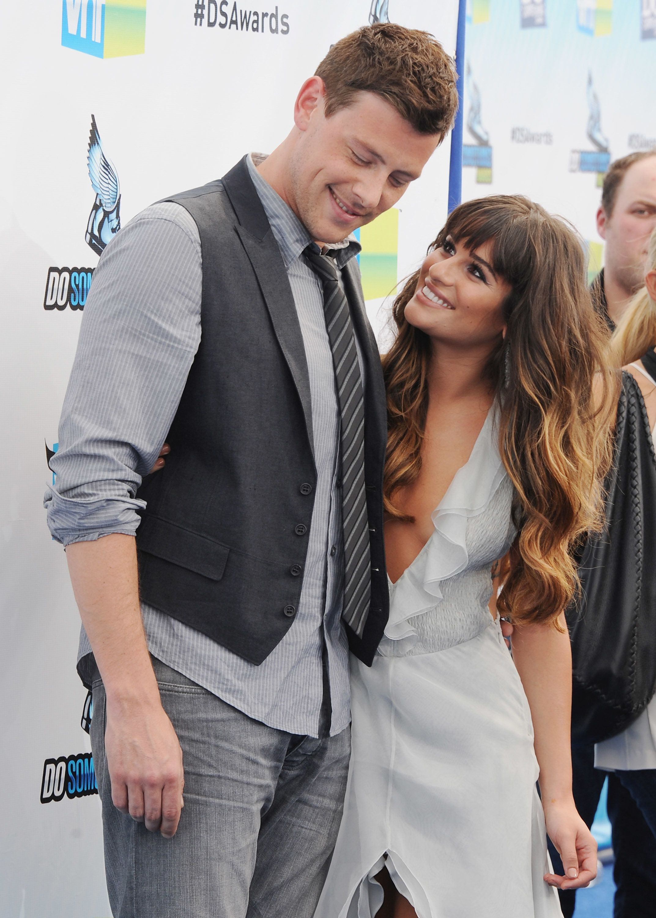 SANTA MONICA, CA - AUGUST 19:  Actor Cory Monteith and actress Lea Michele arrive at the DoSomething.org And VH1's 2012 Do Something Awards at the Barker Hangar on August 19, 2012 in Santa Monica, California.  (Photo by Jon Kopaloff/FilmMagic)
