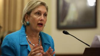 WASHINGTON, DC - JULY 23:  Jamie Gorelick, former commissioner for the National Commission on Terrorist Attacks Upon the United States, testifies during a hearing before the House Homeland Security Committee July 23, 2014 on Capitol Hill in Washington, DC. The committee held a hearing on 'The Rising Terrorist Threat and the Unfulfilled 9/11 Recommendation.'  (Photo by Alex Wong/Getty Images)