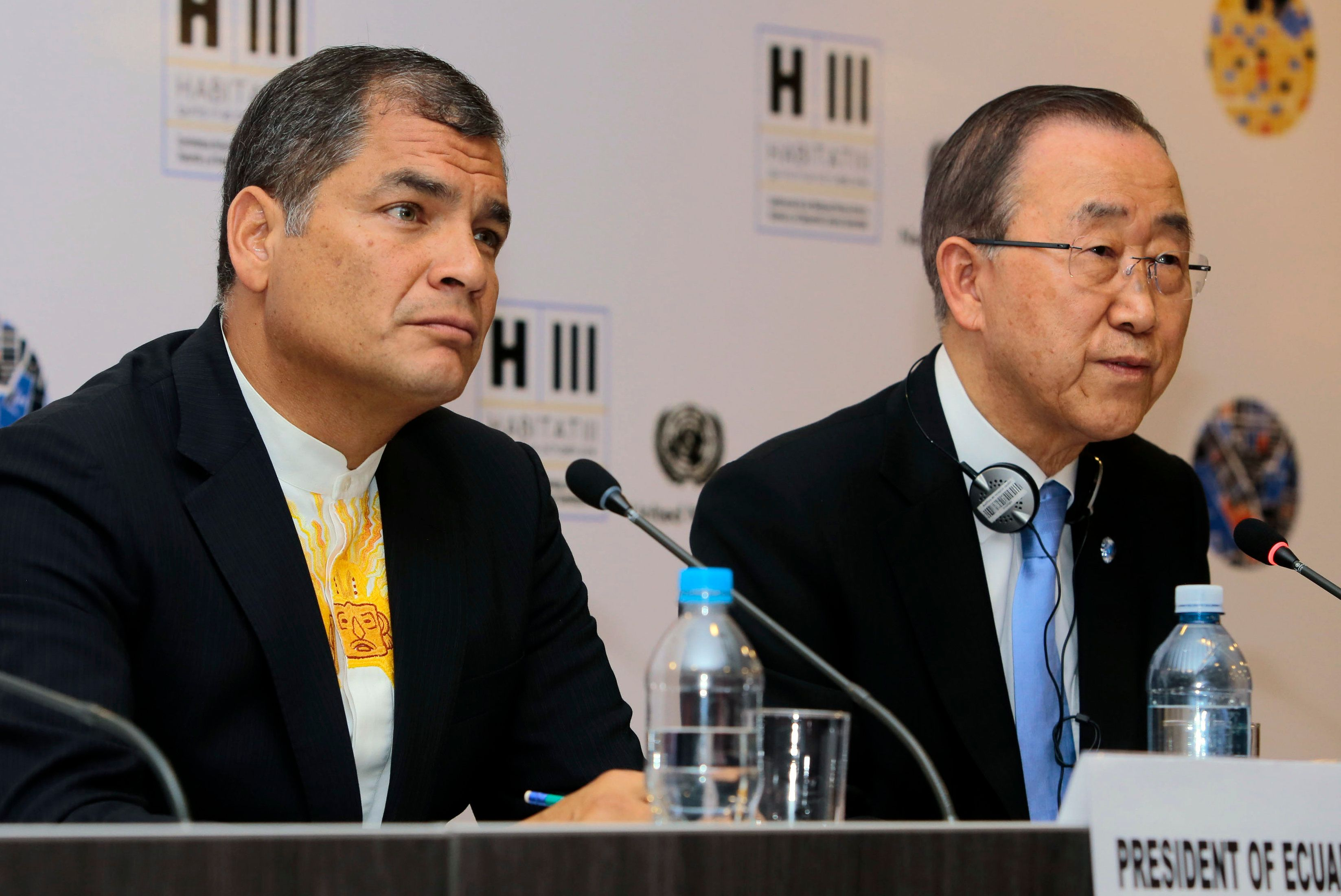 Ecuador's President Rafael Correa (left) and U.N. Secretary-General Ban Ki-moon hold a press conference in October2016.