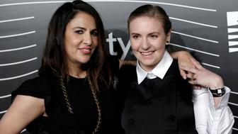 Lena Dunham (R) and Jenni Konner, founders of Lenny Letter, pose as they arrive for the 20th Annual Webby Awards in Manhattan, New York, U.S., May 16, 2016. REUTERS/Mike Segar