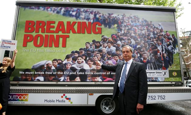 Nigel Farage launches a referendum poster campaign in Smith Square,