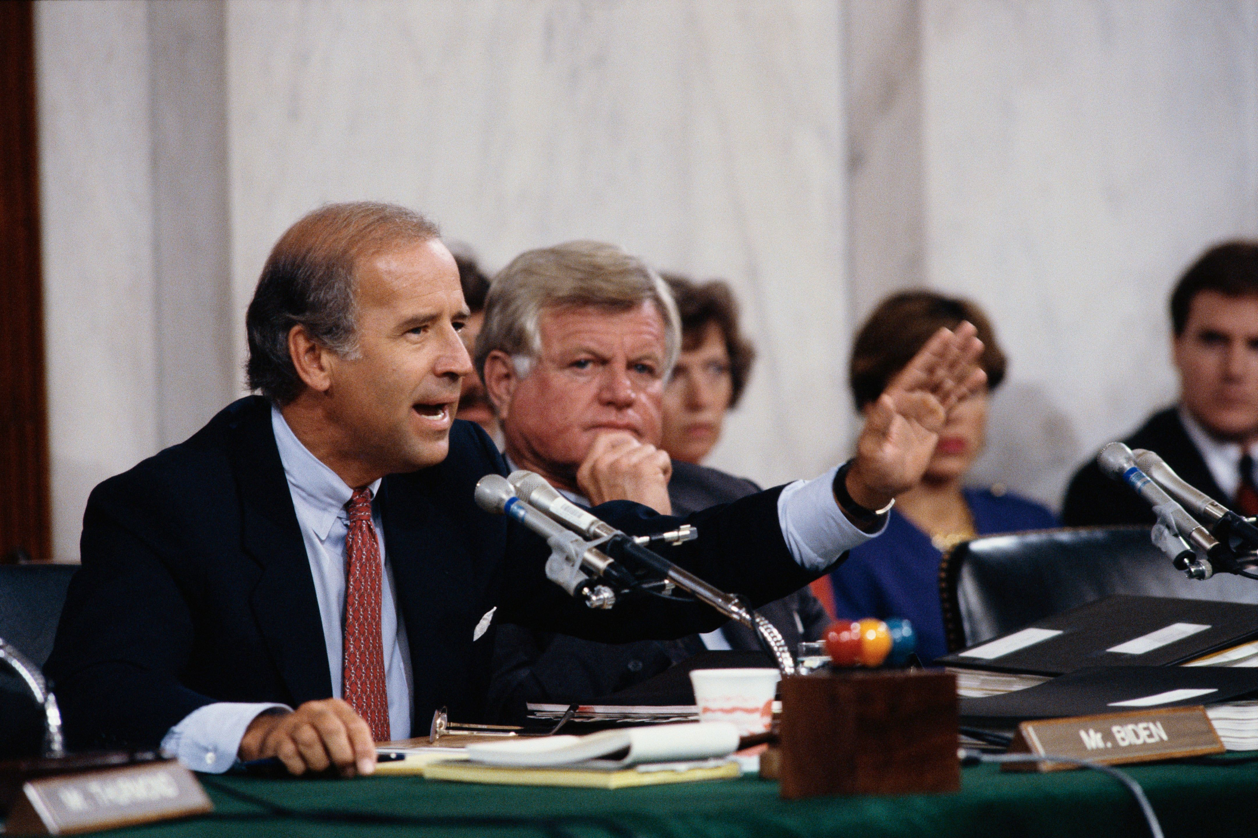 Senators Joseph Biden and Ted Kennedy During the Clarence Thomas Confirmation Hearings (Photo by © Wally McNamee/CORBIS/Corbis via Getty Images)