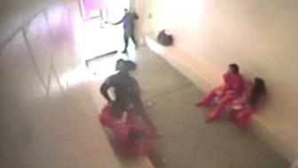 A video still from the alleged assault of an inmate at a New Mexico jail