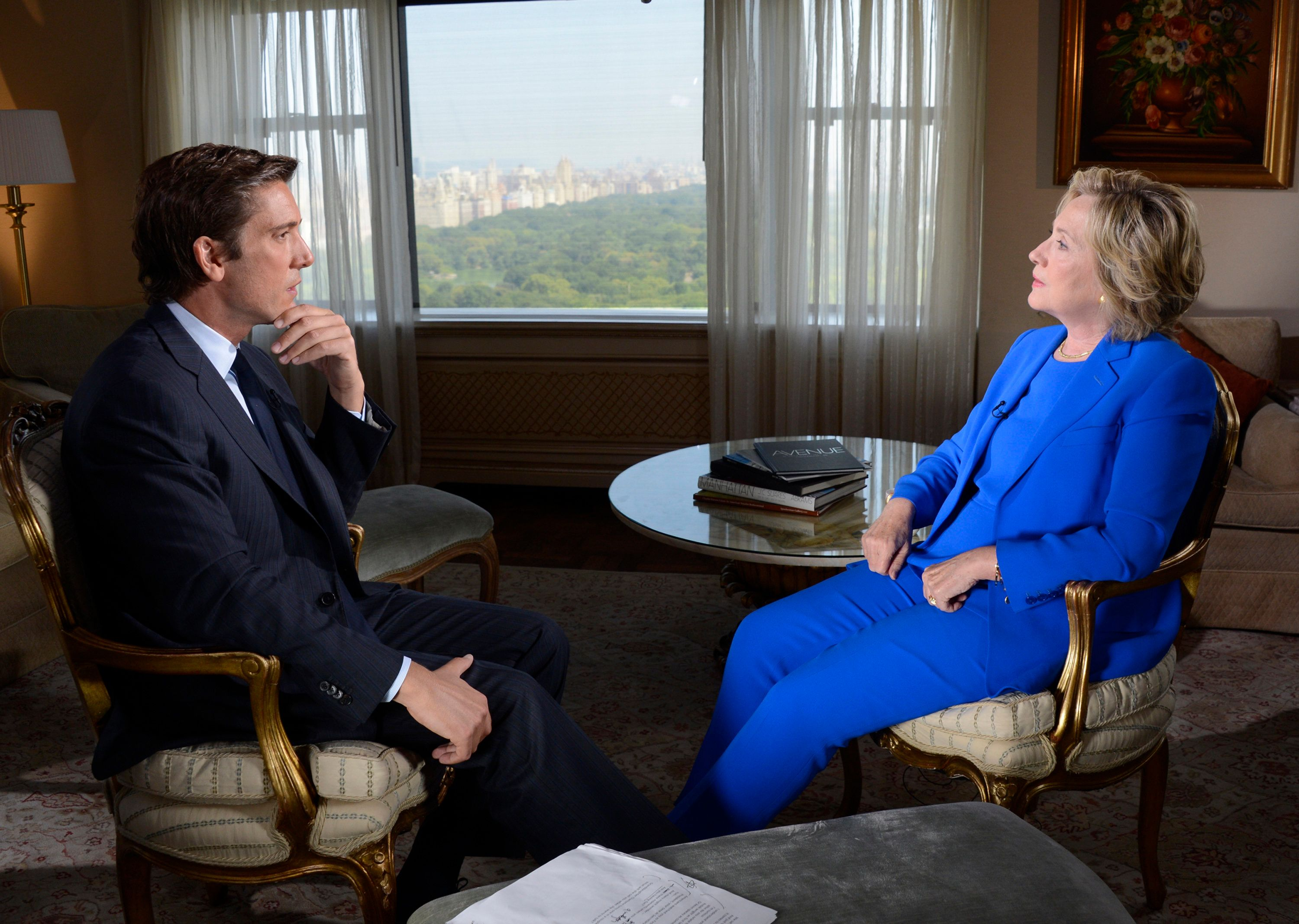 ABC NEWS - David Muir conducts a one-on-one interview with Democratic Presidential Candidate Hillary Clinton on the Iran deal, her email as Secretary of State, current state of the campaign and other issues, airing on WORLD NEWS TONIGHT, Tuesday, Sept. 8 (6:30-7pm, ET) as well as all ABC News programs and platforms.   (Photo by Ida Mae Astute/ABC via Getty Images)  DAVID MUIR, HILLARY CLINTON