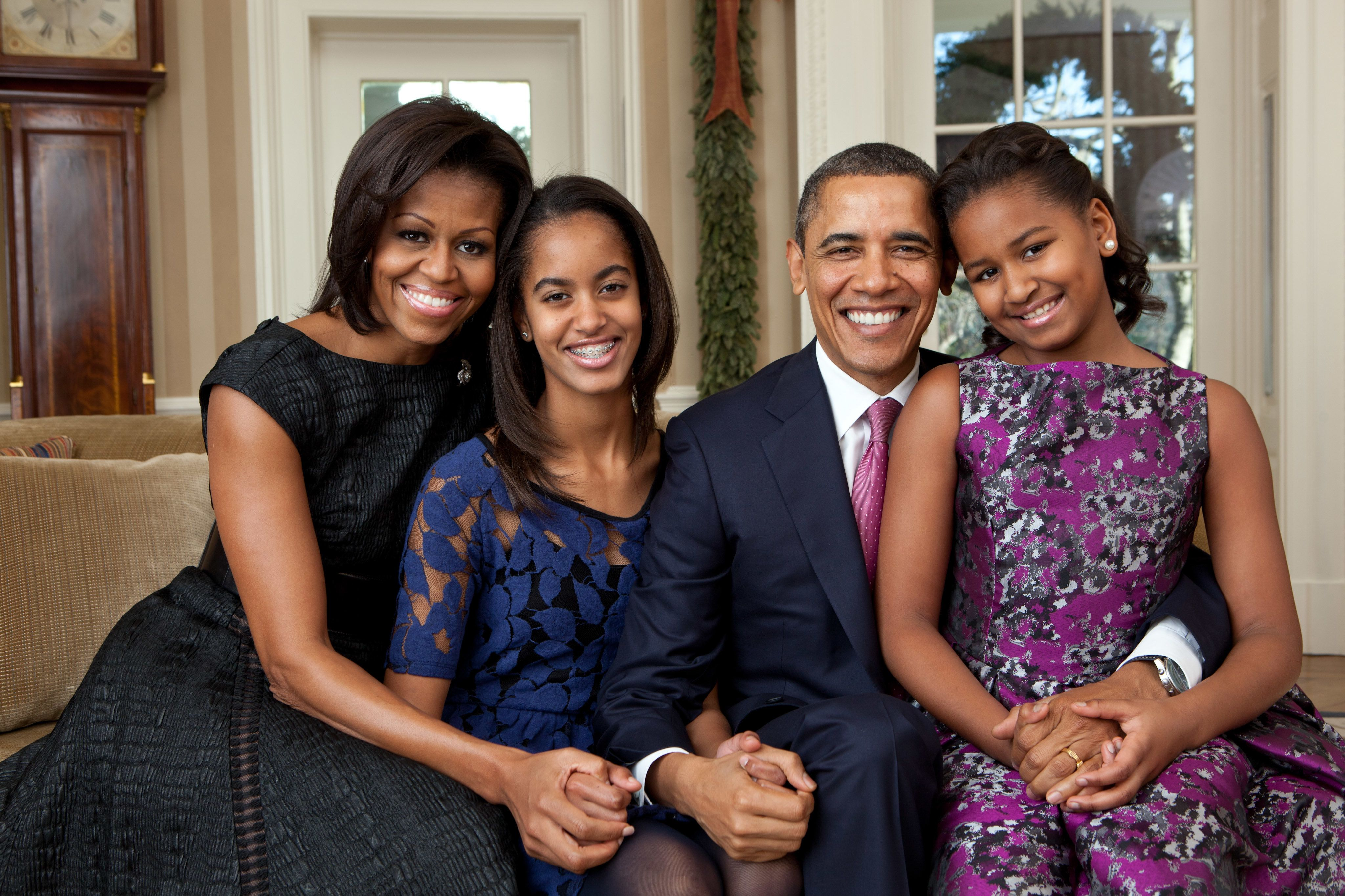 The Obamas pose for an official family portrait in 2011.