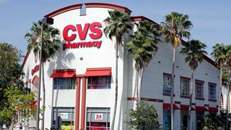 Fort Lauderdale, FL, USA - April 30, 2016: A modern, freestanding CVS Pharmacy retail location on a sunny day.
