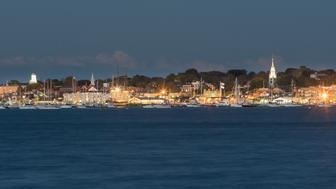 Newport Rhode Island Skyline and marina at dusk