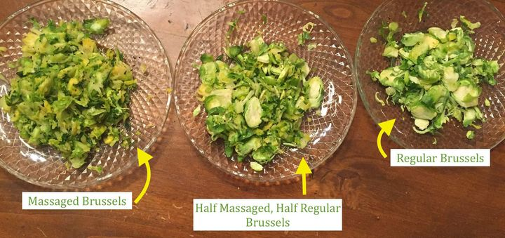The massaged sprouts looked slimier than the other two salads, andthe regular Brussels looked pale and raw. The half-an