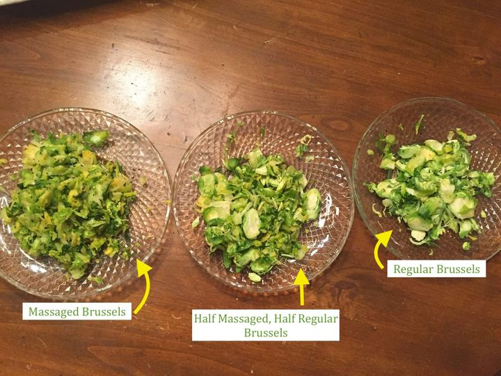 The massaged sprouts looked slimier than the other two salads, andthe regular Brussels looked pale and raw. The half-and-half mixture had the best aesthetic.