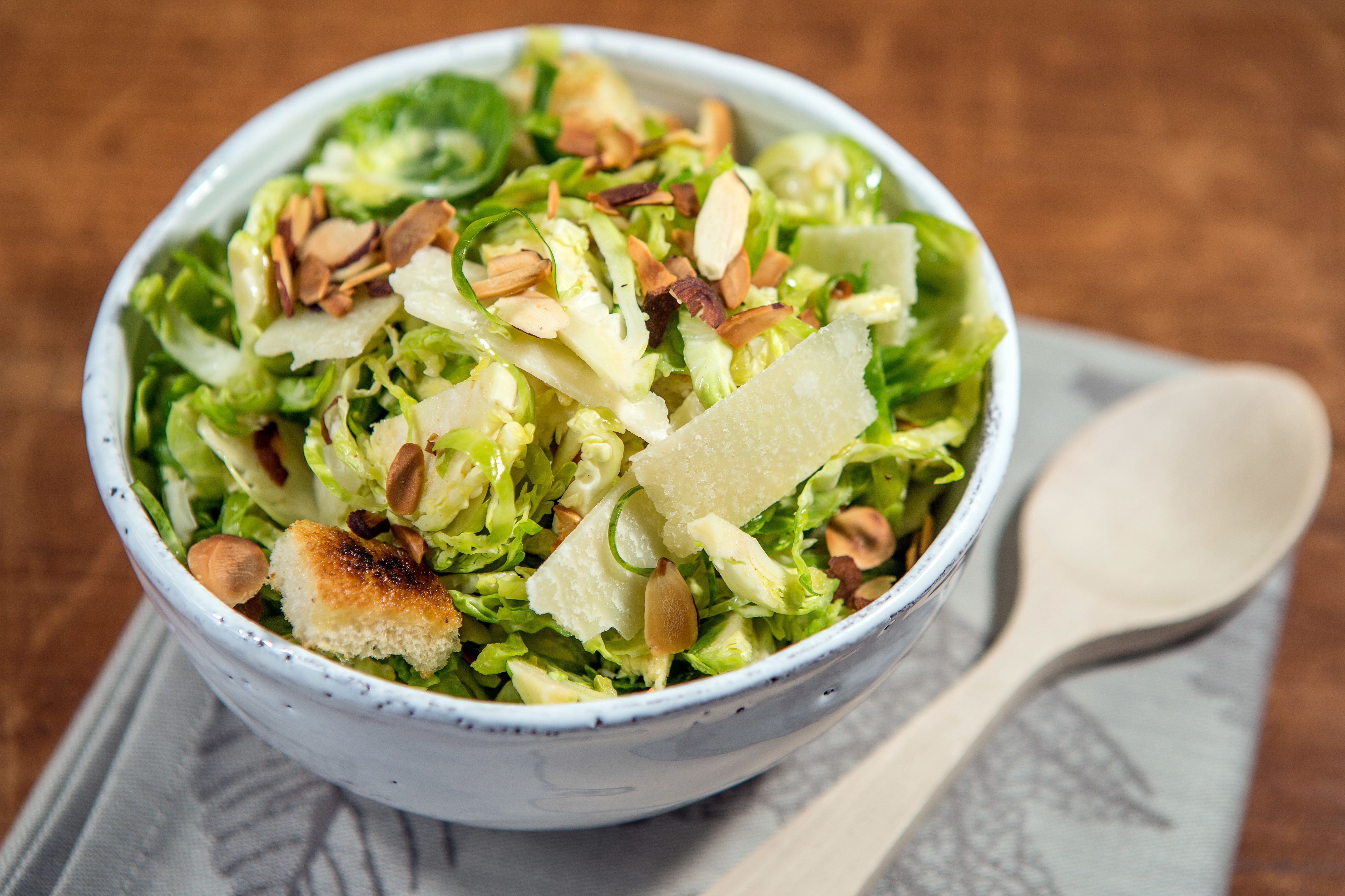 WATERTOWN, MA - NOVEMBER 3: Brussels sprout salad photographed at Sheryl Julian's home in Watertown. Food styling by Sheryl Julian and Valerie Ryan. (Photo by Aram Boghosian for The Boston Globe via Getty Images)