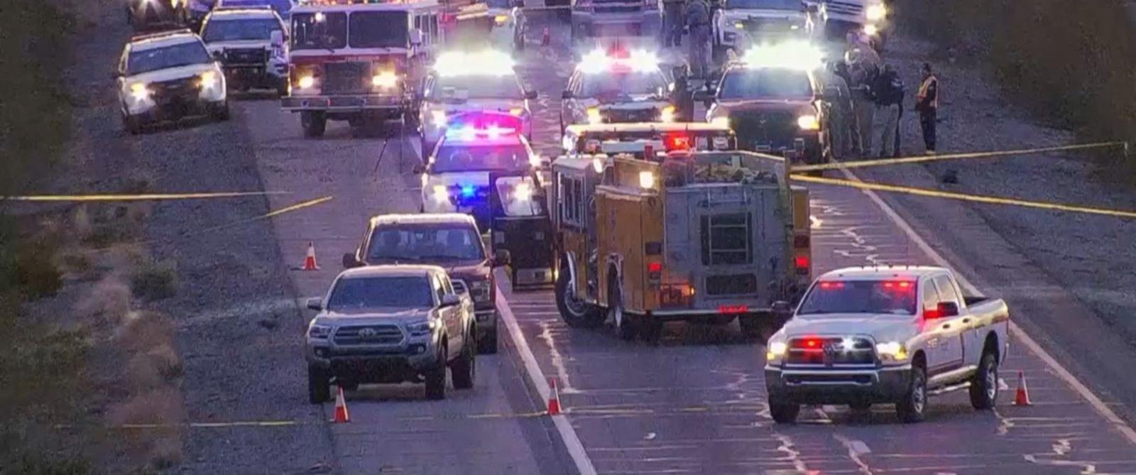 Emergency vehicles descend on scene in Tonopha Arizona where a state trooper was ambused
