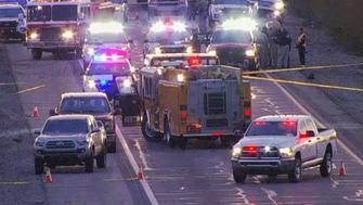 Emergency vehicles descend on scene in Tonopha Arizona where a state trooper was ambused