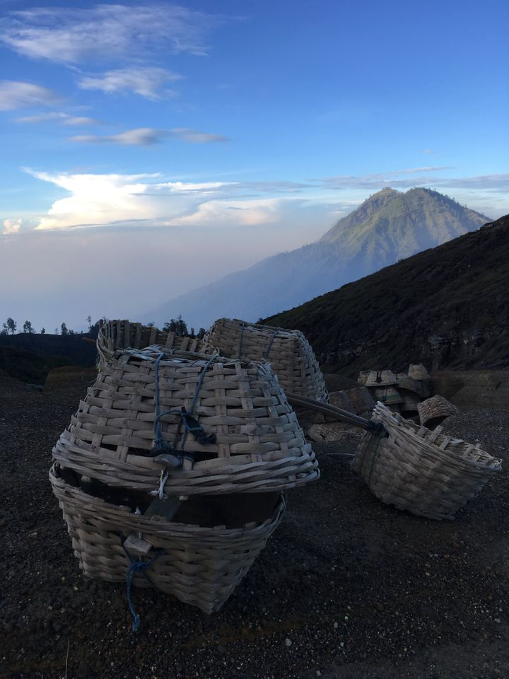 <p>The baskets used by miners to carry sulpher from the Ijen Crater to base camp. </p>