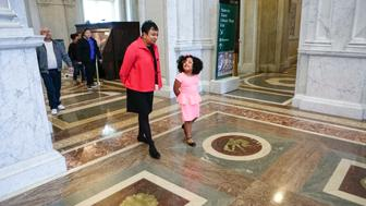 """Librarian of Congress Carla Hayden welcomes 4-year-old Daliyah Marie Arana of Gainesville, Georgia to be """"Librarian for the Day,"""" January 10, 2017. Photo by Shawn Miller."""