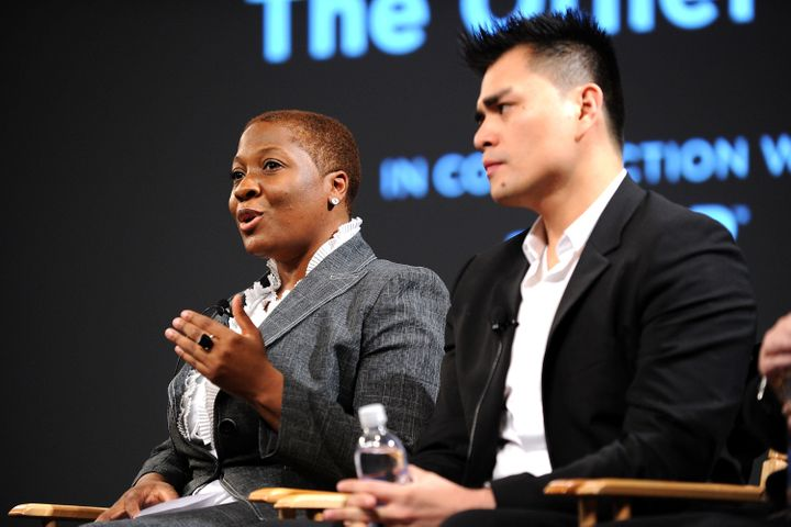 Jehmu Greene speaks alongside journalist and activist Jose Antonio Vargas in 2010. Greene announced her candidacy to cha