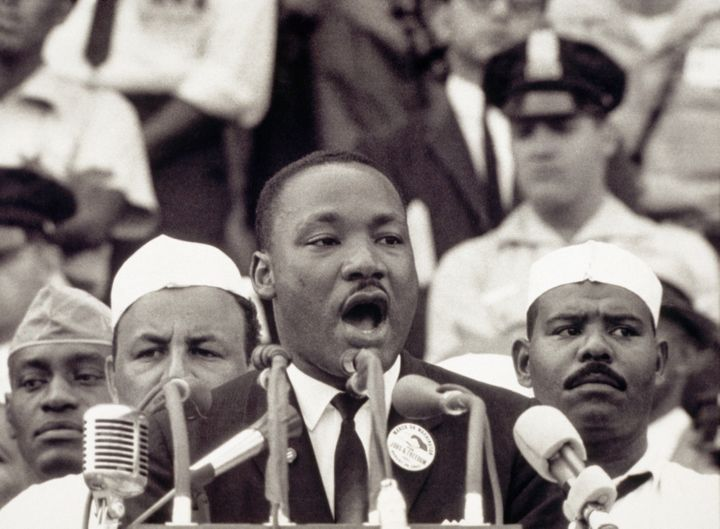 "MLK delivering his ""I Have A Dream"" speech."