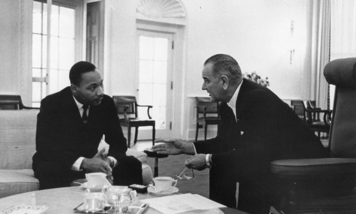 Dr. King meeting with Lyndon B. Johnson.