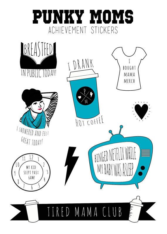 """The Punky Mom set of stickers includes """"I Showered and Felt Great Today"""" and """"Binged Netflix While My Baby Was Asleep."""" Paren"""