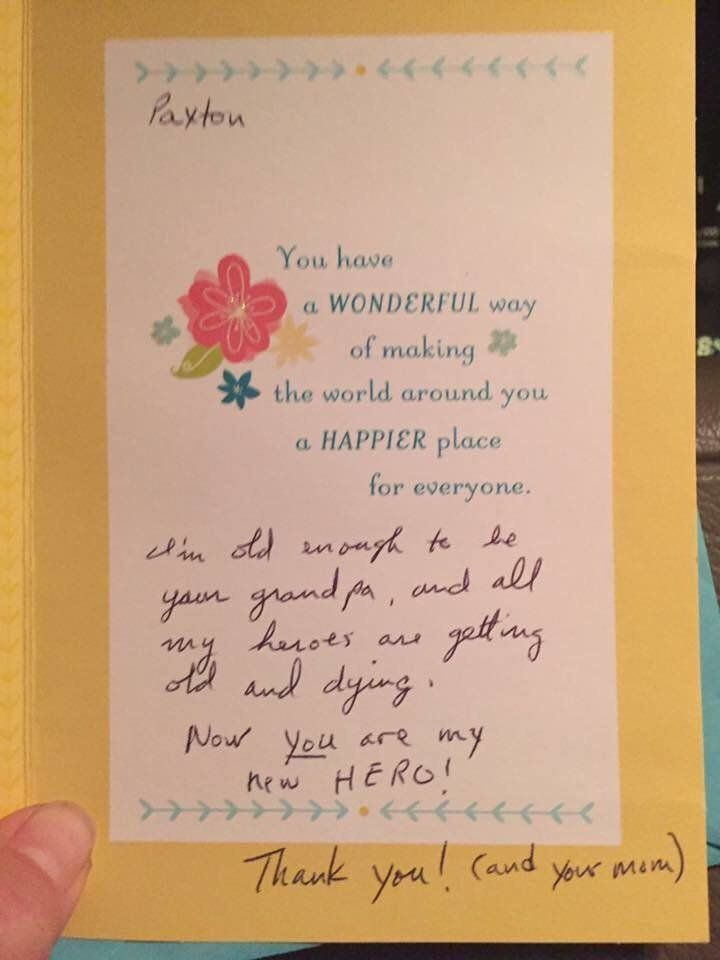 "Paxton received a card in the box from someone who called the 6-year-old his ""hero."""