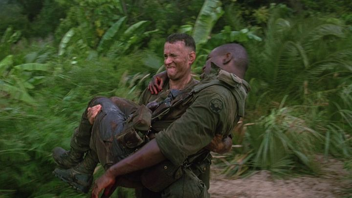 Forrest Gump carrying Bubba in the movie, Forrest Gump.