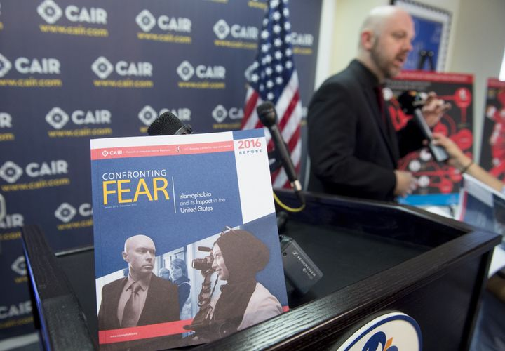 CAIR's Corey Saylor speaks at a press conference about Islamophobia in Washington on June 20, 2016.