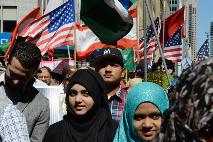 People walk in the annual Muslim Day Parade in Manhattan on Sept. 25, 2016.