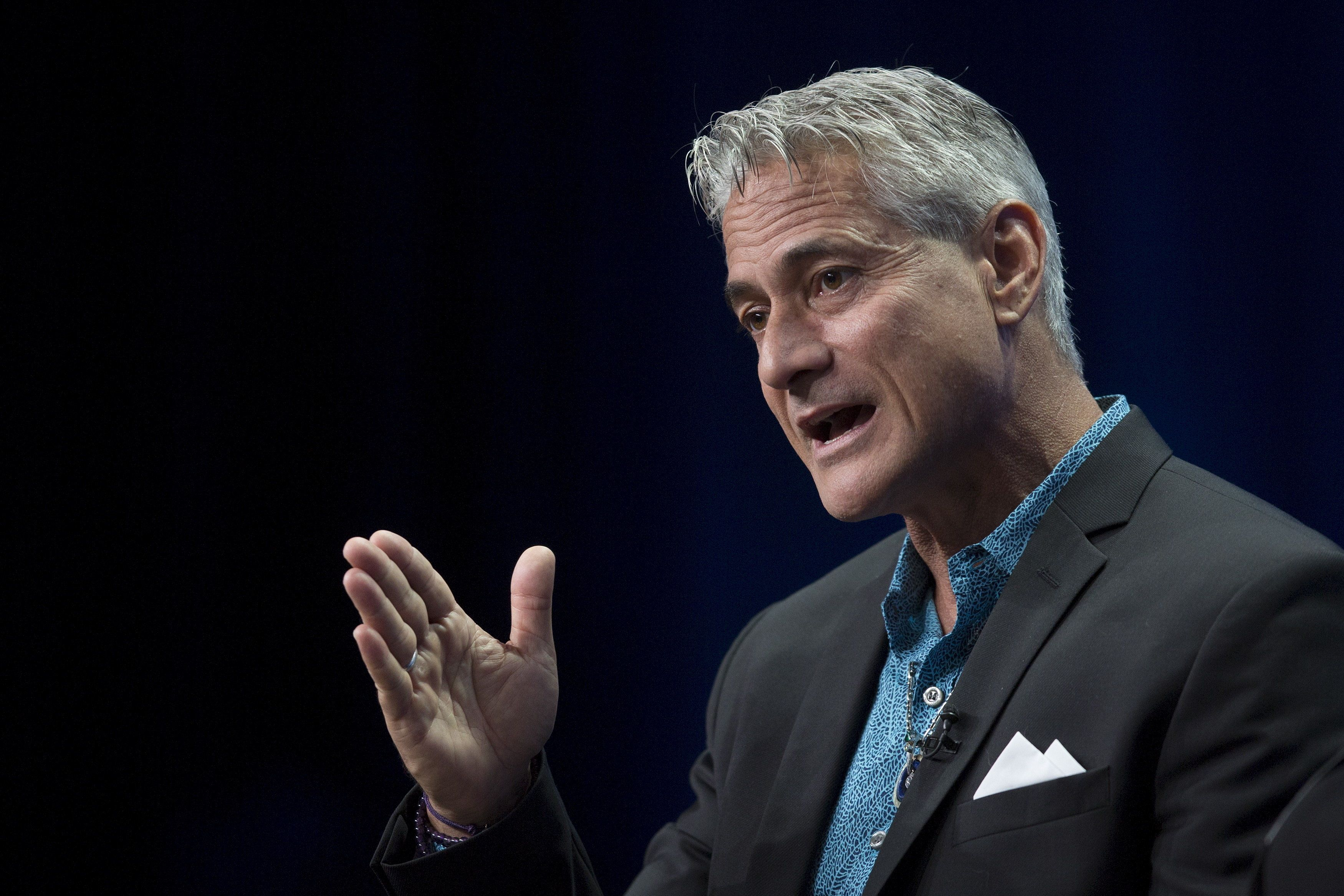 "Olympic diver Greg Louganis appears for the HBO ""On the Board Again: Greg Louganis"" presentation in the cable portion of the Television Critics Association Summer Press Tour in Beverly Hills, California July 30, 2015.  REUTERS/David McNew"