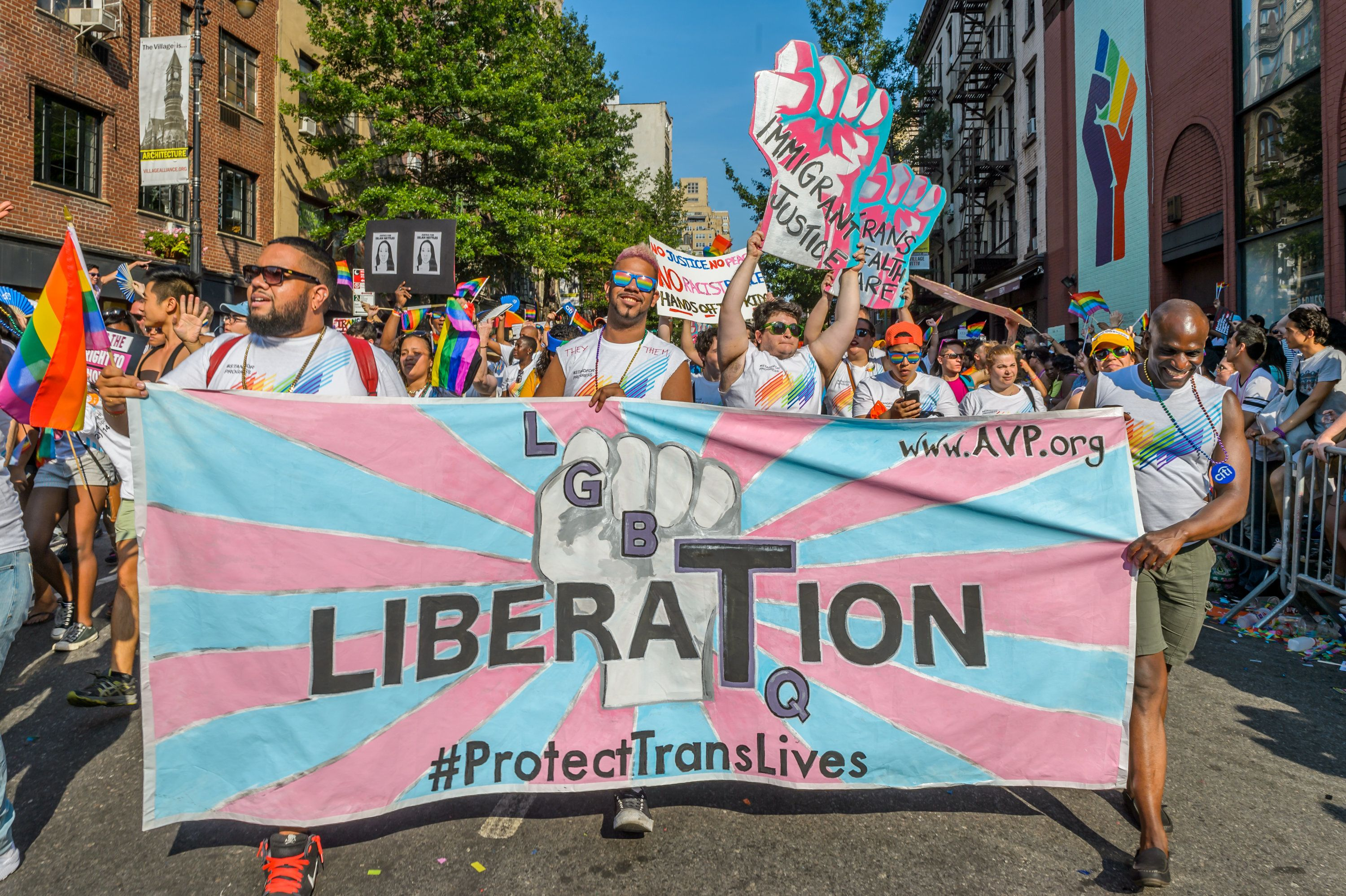GAY PRIDE PARADE, NEW YORK, UNITED STATES - 2016/06/26: Thousands of people came out and commemorate the 46th anniversary of the first Pride March with the largest Pride March in the country. This event is the largest for the LGBT community. The first March was held in 1970 and has since become an annual civil rights demonstration. Over the years its purpose has broadened to include recognition of the fight against AIDS and to remember those we have lost to illness, violence and neglect. The March is a celebration of our lives and our community. (Photo by Erik McGregor/Pacific Press/LightRocket via Getty Images)