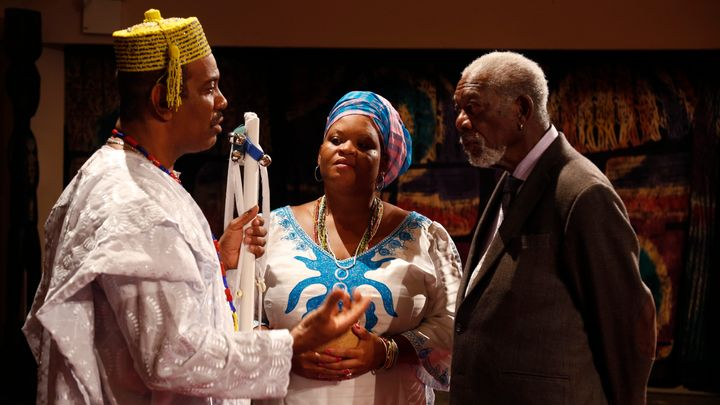 Morgan Freeman interviews Babalawo Oluwole Ifakunle, professional practitioner of traditional Ifa and Orisa worship, and Funl