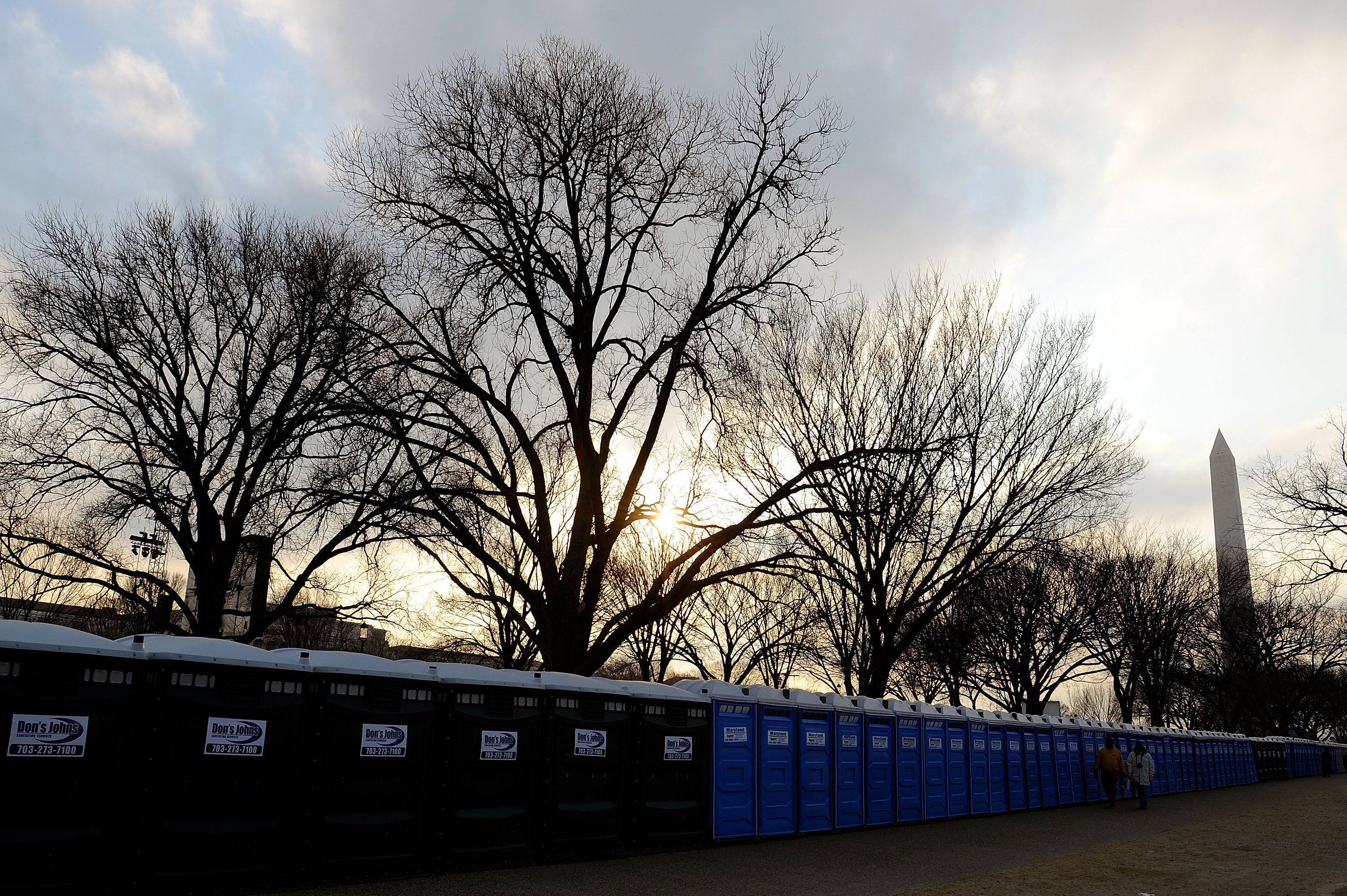 "Rows of porta-potties, including some from ""Don's Johns,"" at left, are seen ahead of President Obama's inauguration in 2009."