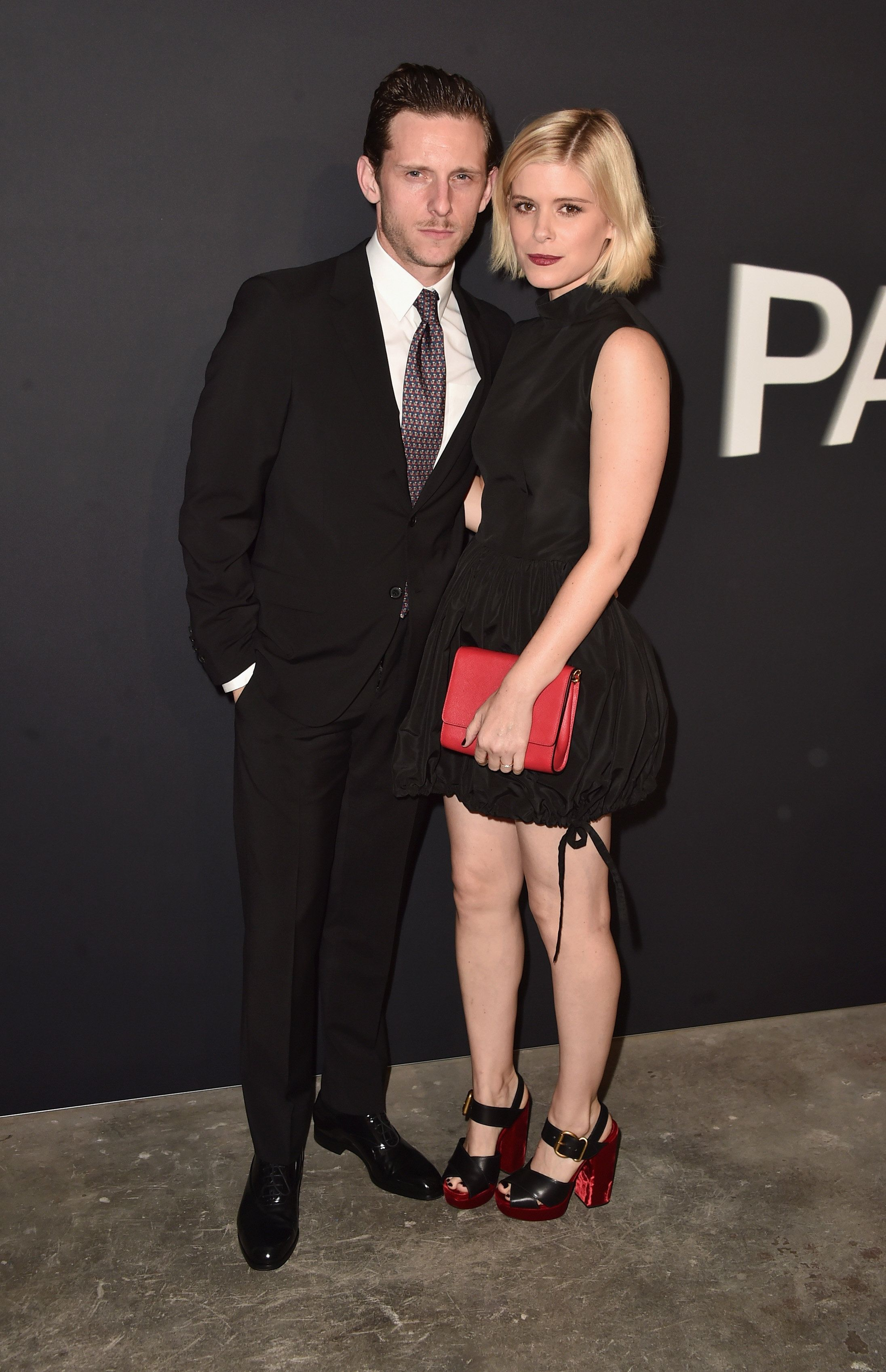 LOS ANGELES, CA - NOVEMBER 15: Actors Jamie Bell (L) and Kate Mara attend the premiere of 'Past Forward', a movie by David O. Russell presented by Prada on November 15, 2016 at Hauser Wirth Schimmel Gallery in Los Angeles, California.  (Photo by Alberto E. Rodriguez/Getty Images)