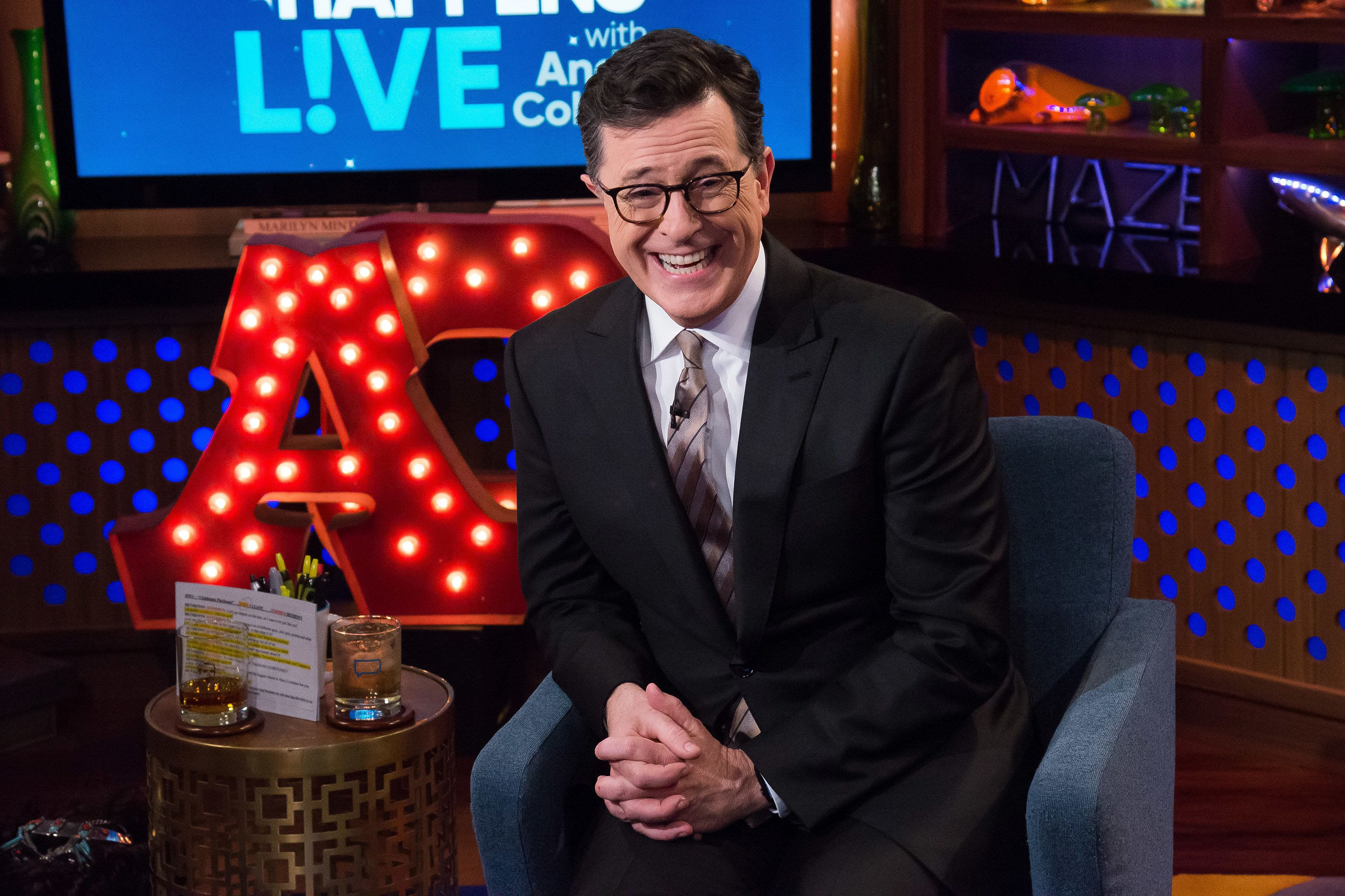 WATCH WHAT HAPPENS LIVE WITH ANDY COHEN -- Pictured: Stephen Colbert -- (Photo by: Charles Sykes/Bravo/NBCU Photo Bank via Getty Images)
